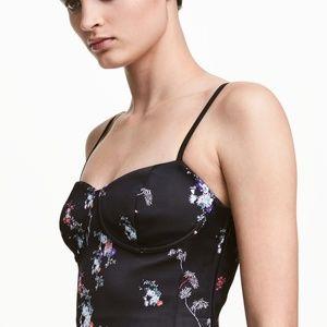 H&M Black Floral Silk Bustier Dress